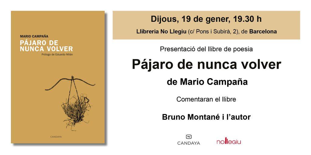 Presentación de 'Pájaro de nunca volar', en Barcelona